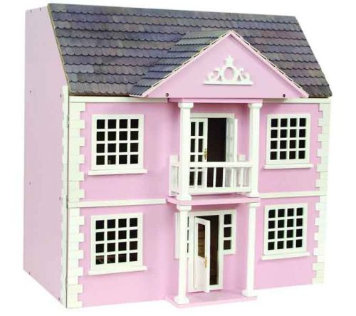 Newnham Manor - Pink Painted Dolls House Kit