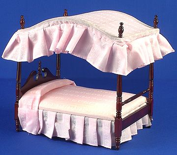 Bedroom beds four poster bed pink bedding dolls house parade for dolls houses miniatures - Bedspreads for four poster beds ...