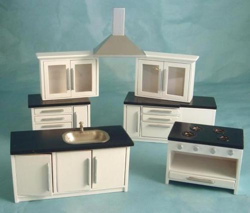 Kitchen Cabinets Modern Kitchen Set White Silver Dolls